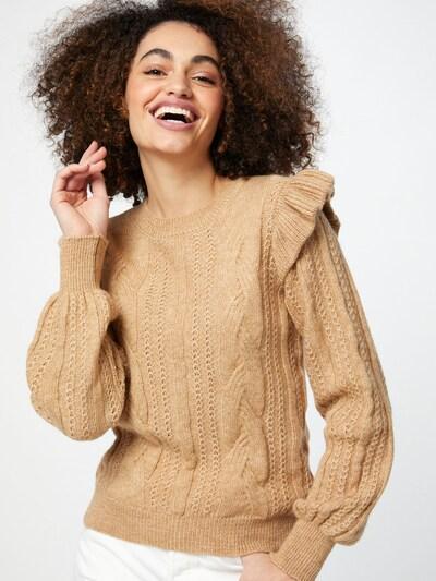 NAF NAF Sweater 'MEVY' in Light beige / Beige mottled: Frontal view