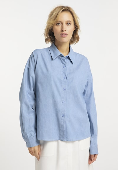 usha BLUE LABEL Bluse in hellblau / weiß, Modelansicht