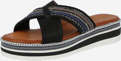 MUSTANG Pantolette in marine / dunkelbraun / schwarz / silber, Produktansicht