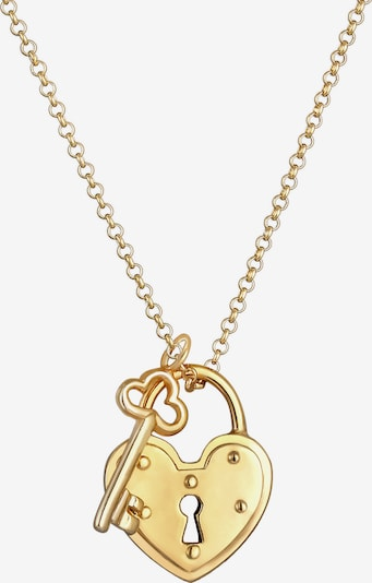 ELLI Halskette Schloss, Schlüssel in gold, Produktansicht