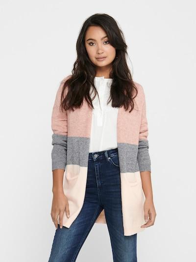 ONLY Cardigan in graumeliert / rosa / altrosa, Modelansicht