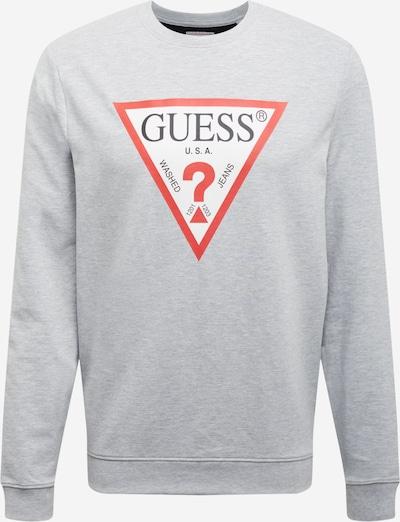 GUESS Sweatshirt  'Audley' in hellgrau / rot / weiß, Produktansicht