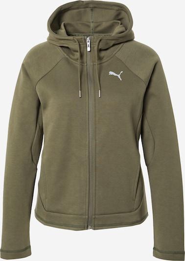 PUMA Athletic Zip-Up Hoodie in Grey / Khaki, Item view