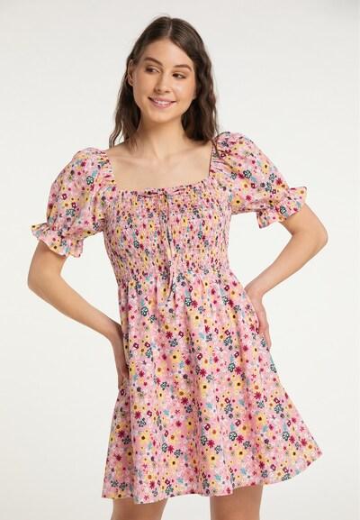 MYMO Kleid in blau / mischfarben / altrosa, Modelansicht