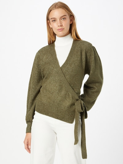 ICHI Knit Cardigan in Olive, View model