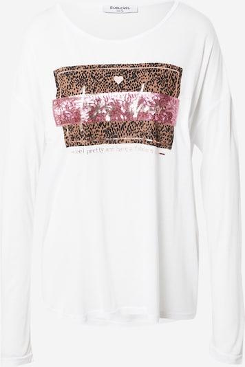 Sublevel T-shirt i brun / taupe / gammalrosa / svart / vit, Produktvy