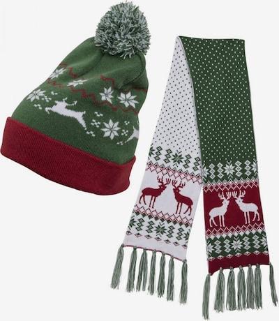Urban Classics Schal und Mütze in dunkelgrün / weinrot / weiß, Produktansicht
