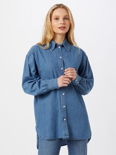 PIECES Bluse 'Ilja' in blue denim, Modelansicht