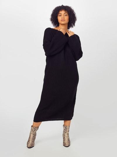 GLAMOROUS CURVE Pletené šaty 'AS0538X' - čierna, Model/-ka