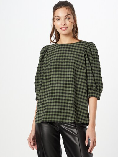 Marc O'Polo DENIM Bluse in grün / schwarz, Modelansicht