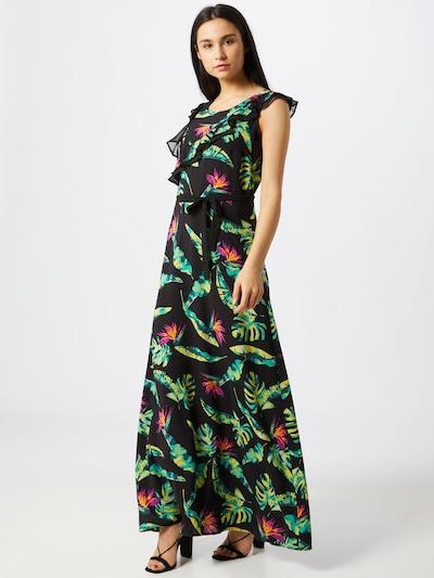 COMMA Kleid in goldgelb / jade / mischfarben / fuchsia / schwarz, Modelansicht