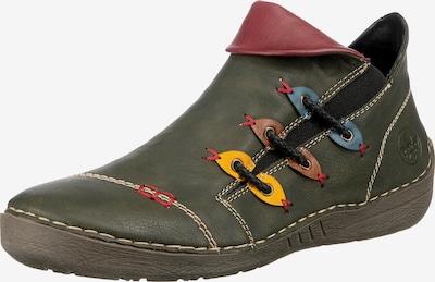 RIEKER Ankle Boots in rauchblau / braun / goldgelb / khaki / karminrot, Produktansicht