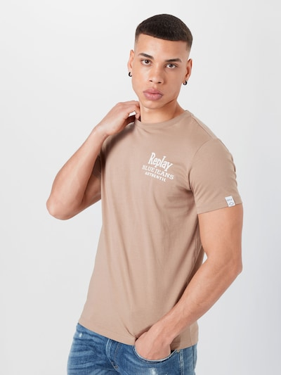 Tricou REPLAY pe maro deschis / alb, Vizualizare model