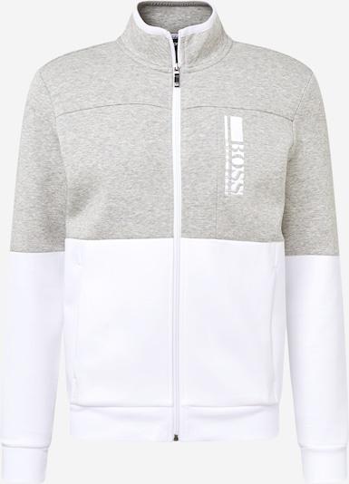 BOSS ATHLEISURE Collegetakki 'Skaz' värissä meleerattu harmaa / valkoinen, Tuotenäkymä