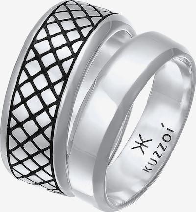 KUZZOI Ring Bandring, Ring Set in schwarz / silber, Produktansicht