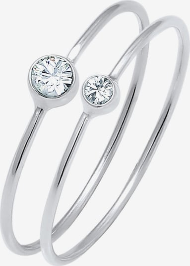 ELLI Ring 'Solitär' in silber / weiß, Produktansicht