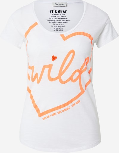 Grace Shirt 'WILD' in de kleur Sinaasappel / Wit, Productweergave