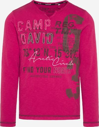 CAMP DAVID Langarmshirt mit Used-Optik und Artwork in rot, Produktansicht