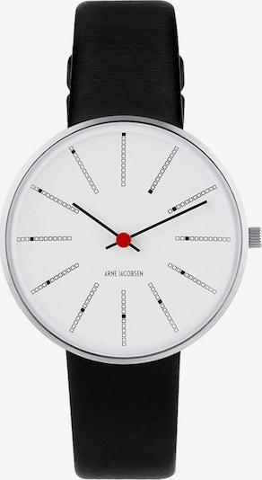 Arne Jacobsen Uhr in rot / schwarz / silber / weiß, Produktansicht