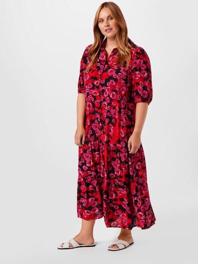 Rochie tip bluză 'MALLIE' Zizzi pe lila / roșu / negru, Vizualizare model