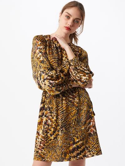 Moves Kleid in goldgelb / pink / schwarz / weiß, Modelansicht