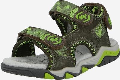 LURCHI Otvorene cipele 'BRIAN' u maslinasta / neonsko zelena, Pregled proizvoda
