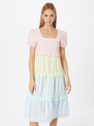 Daisy Street Kleid in hellblau / gelb / mint / rosa, Modelansicht