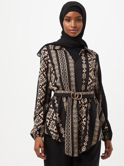 Hailys Bluse 'Chanti' in beige / schwarz, Modelansicht