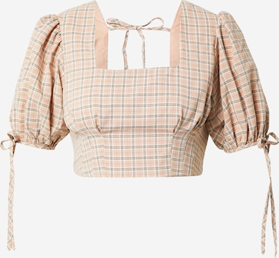 Fashion Union Blouse 'LESINA' in de kleur Donkergrijs / Perzik, Productweergave