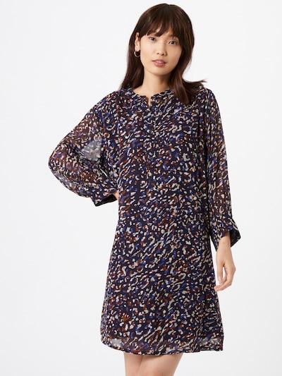 Part Two Kleid 'Georgine' in dunkelblau / braun / weiß, Modelansicht