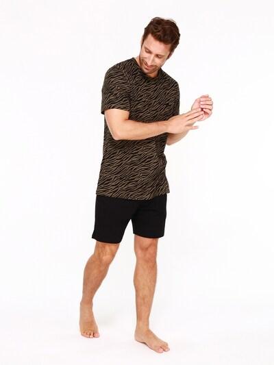 HOM Pyjama kort ' Felix ' in de kleur Kaki / Zwart, Modelweergave