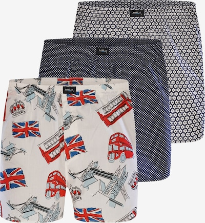 MG-1 Boxershorts ' 3-Pack Motive ' in de kleur Nachtblauw / Rood / Wit, Productweergave