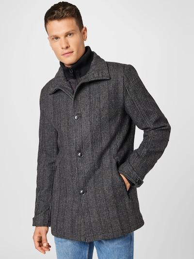 INDICODE Manteau mi-saison 'Nixon' en gris / noir / blanc, Vue avec modèle