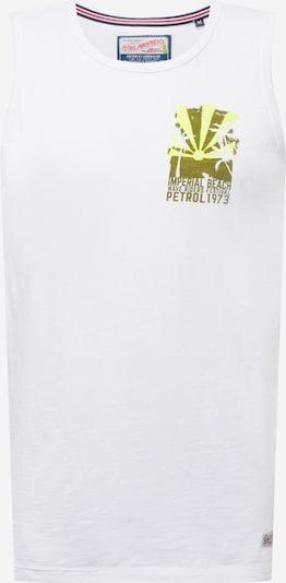 Petrol Industries Тениска в лимоненожълто / маслина / бяло: Изглед отпред