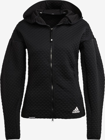 ADIDAS PERFORMANCE Athletic Zip-Up Hoodie in Black
