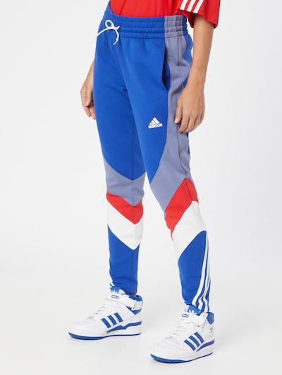 Pantaloni sport ADIDAS PERFORMANCE pe albastru / albastru porumbel / roșu / alb, Vizualizare model