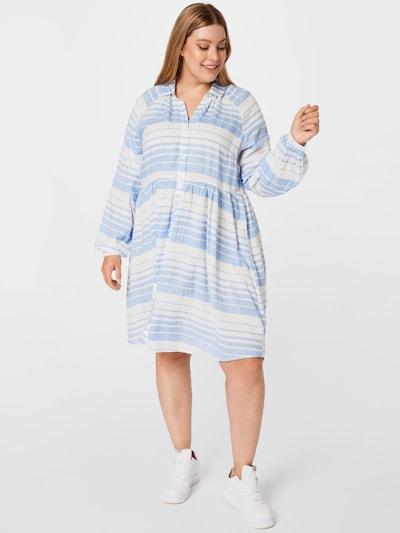 Rochie tip bluză 'Sylia' KAFFE CURVE pe albastru deschis / alb, Vizualizare model