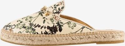 Högl Pantolette 'Capri' in beige / dunkelgrün / rosa, Produktansicht