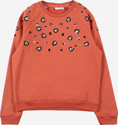 NAME IT Sweatshirt 'NEGIS' in orangerot / schwarz / silber, Produktansicht