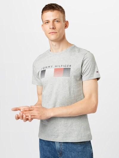 TOMMY HILFIGER T-Shirt en anthracite / gris clair / rouge clair / blanc: Vue de face