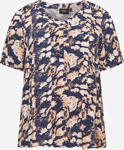 Zizzi Blouse in de kleur Camel / Donkerblauw / Wit, Productweergave