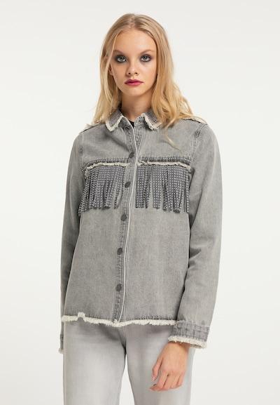 Bluză myMo ROCKS pe gri denim / alb, Vizualizare model