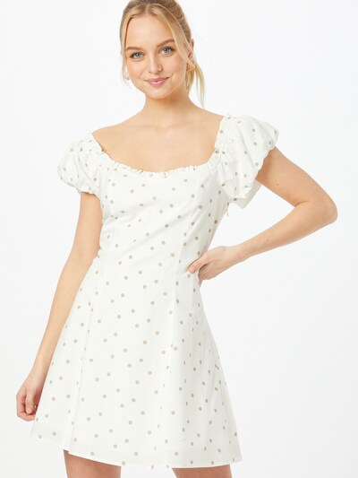 NA-KD Kleid 'Janina Azizam X NA-KD' in beige / weiß, Modelansicht