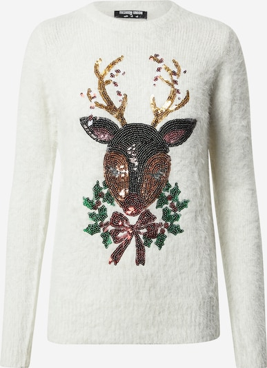 Fashion Union Pullover in sand / braun / grün / bordeaux / weiß, Produktansicht