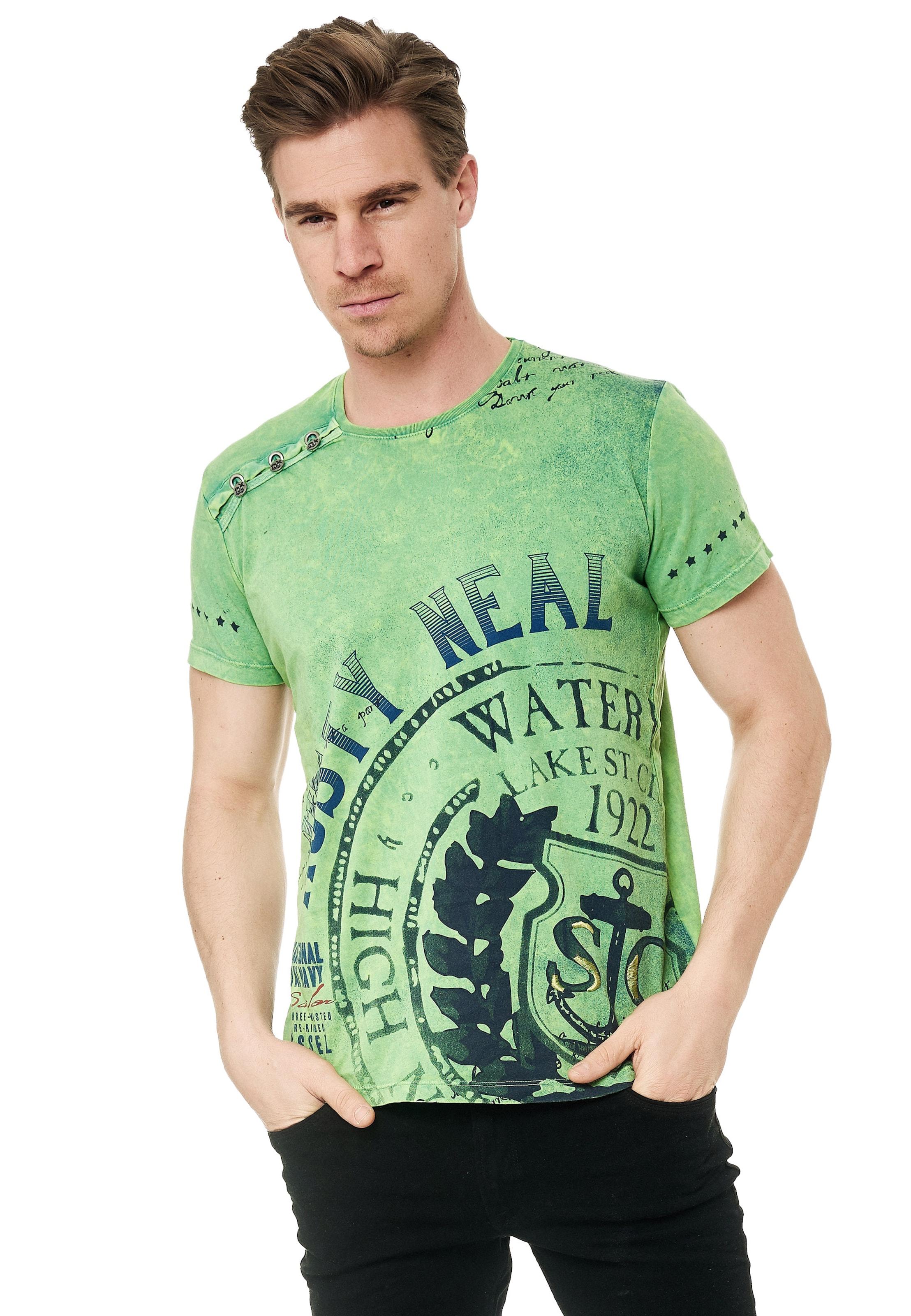 Rusty Neal Cooles T-Shirt mit großem Print in grün Baumwolle 3055739