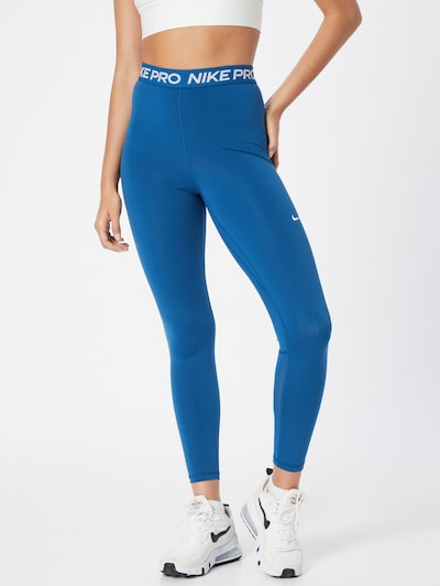 NIKE Workout Pants in Blue / White: Frontal view