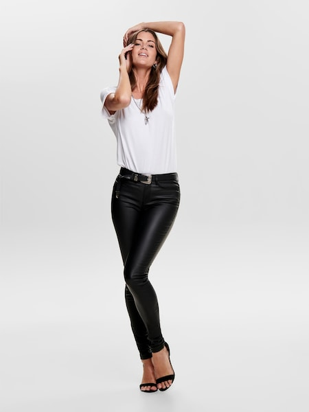 ONLY faux-leather pants 'ANNA' in zwart