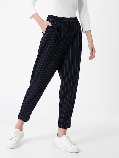 TOM TAILOR DENIM Kalhoty se sklady v pase - tmavě modrá / bílá, Model/ka