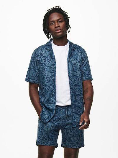 Only & Sons Overhemd in de kleur Marine / Blauw gemêleerd: Vooraanzicht
