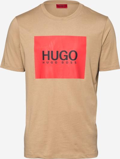 HUGO Shirt 'Dolive' in hellbraun / rot / schwarz, Produktansicht